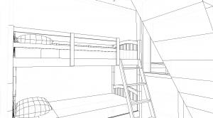 Modèle 3 - Perspective intérieure - Chambre 2