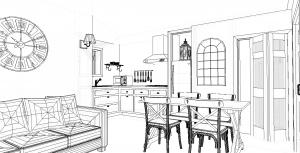 Modèle 3 - Perspective intérieure - Séjour & Cuisine 2