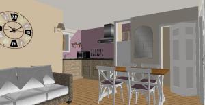 Modèle 3 - Perspective intérieure - Séjour & Cuisine