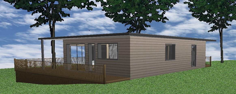 Ecotech - Projet 80 m² - Perspective extérieure 3 - Ombré